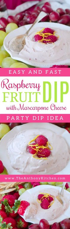 Fruit Dip with Cream Cheese Recipe | An easy recipe for a light cream cheese fruit dip featuring raspberry preserves, greek yogurt, and lemon. Sweet, just a little tangy, and absolutely perfect for dipping! | #fruitdip #partydip #partyfood #dip