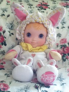 Rare 80's Vintage PLAYSKOOL Jammie Pies - Lolli Bye bunny rabbit doll @Meaghan Holley McNeely  ahhhhh it's your baby