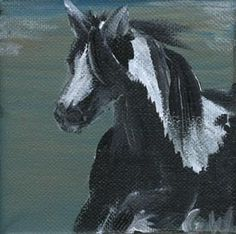 Gypsy vanner horse acrylic painting on 4x4 inches deco canvas signed by artist