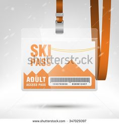 Ski pass vector illustration. Blank ski pass template with barcode in plastic holder with orange lanyard. Lift cable, mountains and snow on the background. Horizontal layout.