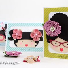 cute card to attatch hair clippies to as a small gift
