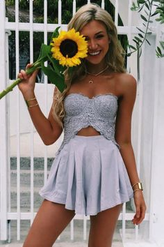 #spring #outfits Grey Lace Corset & Grey Skirt