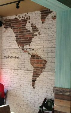 exposed brick wall map art