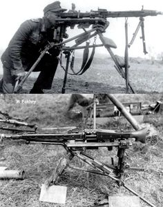 """The deadliest machine gun of World War II, the German MG42.  """"An interesting view of an MG42 machine gunner looking through the telescopic sight for closer grouping over longer ranges. The MG42 proved its capabilities in both offensive and defensive actions. Its dependability was second to none."""