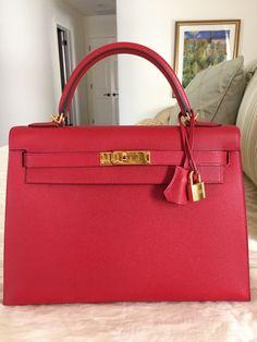Hermes Kelly Sellier 32 Rouge Casaque Epsom Gold Hardware
