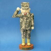 """12"""" U.S. Army Soldier in Fatigues Decorative Wooden Christmas Nutcracker by Kurt Adler. $39.99. U.S. Army Soldier NutcrackerItem #AM6111LOfficially licensed merchandiseNutcracker features a """"U.S. Army"""" star logo on its sleeve, saluting and wearing full army attireFor decorative purposes onlyComes gift boxedDimensions: 12""""H x 6""""W x 4""""DMaterial(s): wood/metal/fabric. Save 33%!"""