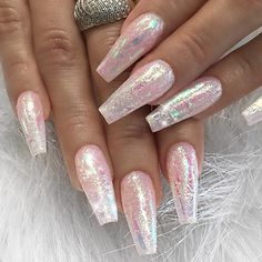 Pretty and long sparkly nails