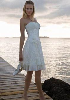 A-line Strapless Knee-length Lace Wedding Dress