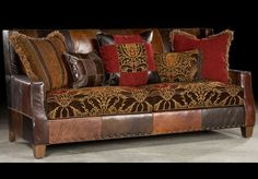 Bold Print Fabric and leather Sofa