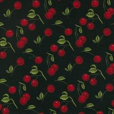 Cherry 100% printed cotton fabric. £11.95/m. #Cherry #CottonFabric #CraftFabric