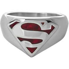 DC Comics Stainless Steel Superman Ring ($44) ❤ liked on Polyvore featuring jewelry, rings, stainless steel jewellery, stainless steel jewelry and stainless steel rings