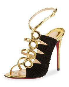 S0FWX Christian Louboutin Tina Ruched Cage Red Sandal, Gold/Black