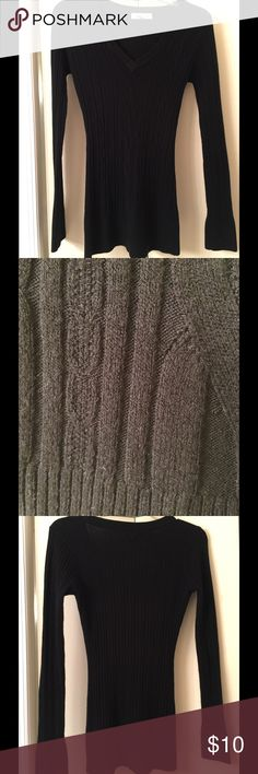 Wow Couture black sweater Black knit sweater EUC- color looks faded in closeup but it's not. WOW couture Sweaters Crew & Scoop Necks
