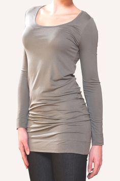 Our Light Khaki Scoop neck extra long top. Sotto e Sopra design and manufacture an envirnonmentally sustainable collection of Tencel women's clothing, including maternity wear. Available to also available to buy online www.sottoesopra.co.uk