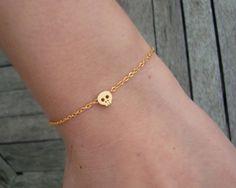 Mini Gold Skull Bracelet - Tiny Gold Skull Bracelet. $10.00, via Etsy.