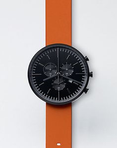design-fjord: 302 Series Black with Orange Strap - Uniform Wares