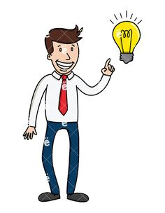 A Businessman Pointing To A Light Bulb As If He Has An Idea: Royalty-free vector illustration of a creative businessman pointing to a light bulb as if he has his next big idea. He has a grand smile and can't wait to tell you all about it! #businessman #friendlystock #graphic #vector #art #illustration #animation #whiteboard #svg