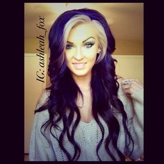 Deep purple hair with platinum bangs.        Maybe with dark red?