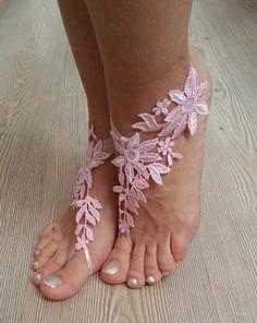 Hochzeitssuite Fußkette Rosa Hochzeit barfuß von BarefootShop