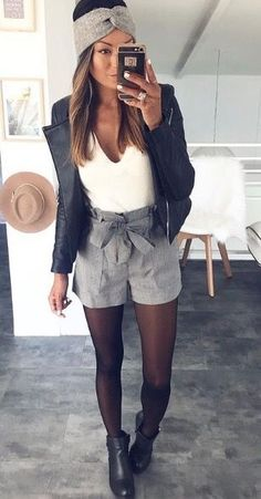 b36d6ed741a black tights plaid shorts black ankle boots white top black leather jacket  grey headband Outfit Winter