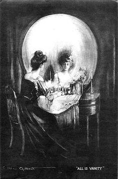 all is vanity - skull illustration, girl in mirror