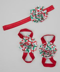 This Dun Up Designs Red & Green Chevron Flower Headband & Barefoot Sandals Set by Dun Up Designs is perfect! #zulilyfinds