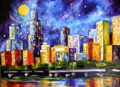 Chicago Skyline by Texas Artist Laurie Pace -- Laurie Justus Pace