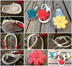 Crochet Baby Flip Flops FREE tutorial (hva)