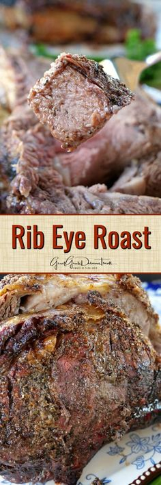 Rib Eye Roast - Rib eye roasts are such a tasty, tender, juicy choice of beef and definitely 'melt in your mouth' delicious. Perfect for the holiday season! Best Beef Recipes, Roast Recipes, Steak Recipes, Cooking Recipes, Favorite Recipes, Beef Ribeye Roast, Beef Ribs, Prime Rib Roast Recipe Bone In, Rib Eye Roast