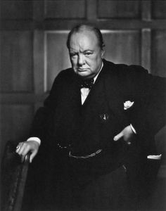 """In WW II:""""We will never surrender"""" - Famous portrait of Winston Churchill by Yousuf Karsh (December 23, 1908 – July 13, 2002). A.L."""