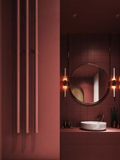 No contemporary bathroom design is complete without a stylish modern vanity unit. Whether you're looking for single or double vanities, we have 40 of the best. Bathroom Red, Bathroom Toilets, Bathroom Colors, Bathroom Vanities, Bathroom Ideas, Maroon Bathroom, Burgundy Bathroom, Bathroom Curtains, Red Bathrooms