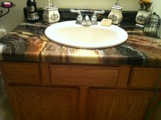 formica countertop covered in a decorative epoxy color combination