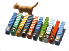 10 CAT CLOTHESPINS hand painted magnetic clips by SugarAndPaint, $30.00