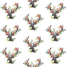 Mini Floral Rustic Deer fabric by shopcabin on Spoonflower - custom fabric