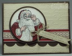 www.dreamingaboutrubberstamps.com - I love the traditional look made with watercolor paper and the Santa's List stamp set from Stampin' Up!