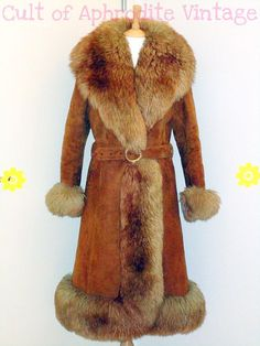 158ce65788e Vintage 70s Suede Leather Sheepskin Shearling FUR Trim Long Princess COAT