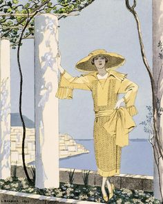 """Georges Barbier, """"Amalfi""""; note sleeve and collar detail"""