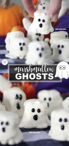 Marshmallow Ghosts are so perfectly delicious for Halloween, it's scary! Kids of all ages can help prepare these easy-to-make Halloween treats. With just three simple ingredients, they can be made at a moment's notice. Halloween Desserts, Halloween Candy, Diy Halloween, Happy Halloween, Marshmallow Halloween, Halloween Decorations, Hallowen Party, Halloween Magic, Halloween Foods