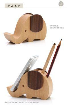 New Wood multifunctional cute cartoon elephant pen holder cell phone holder desktop stationery storage rack decoration Ornament