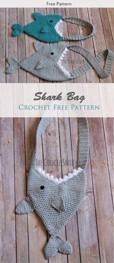 Shark Bag Crochet Free Pattern #freecrochetpatterns