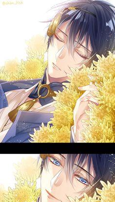 Pixiv Id Touken Ranbu, Mikazuki Munechika, Yellow Flower, Bust, Detached Collar Anime Boys, Hot Anime Boy, Manga Boy, Manga Anime, Anime Art, Otaku, Manga Japan, Touken Ranbu Mikazuki, Anime Kunst