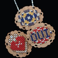 Eco Bamboo CrossStitch Pendant by delilahdevine on Etsy, $36.00