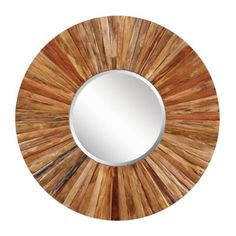 Ballard Designs Berkley Wood Mirror $339.00  Strips of natural Asian hardwood form a perfect circle around the beveled glass mirror, creating a versatile decorating piece that works in a variety of interiors. The natural color variation of the wood and exposed nail heads infuse any space with elevated texture and rustic appeal