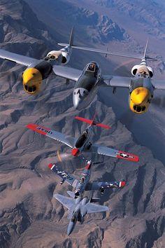 P-38 P-51 F-86 & F-15 by Erik Hildebrandt