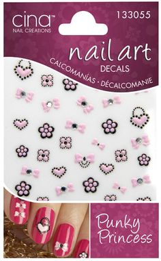 Cina Nail Creations Art Decals With Pink Flowers Hearts And Bows Nails