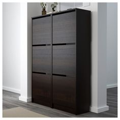 IKEA - BISSA Shoe cabinet with 3 compartment black, brown Shoe Cabinet Entryway, Shoe Storage Cabinet, Storage Cabinets, Locker Storage, Shoe Cabinet Design, Ikea Bissa, Drawer Fronts, Floor Space, Black