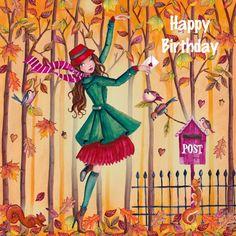 Een vrolijke herfst verjaardagskaart voor een hip meisje.