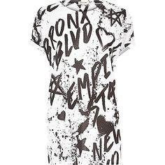 White graffiti print boyfriend T-shirt - print t-shirts / vests - t shirts / vests - tops - women
