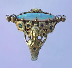 ART NOUVEAU  Peacock Maiden Ring