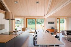 House Åkerudden by MNy Arkitekter, contemporary timber architecture, modern gabled architecture, Tenala architecture, Finnish lakeshore architecture Types Of Timber, Modern Lake House, Freestanding Fireplace, Timber House, Helsinki, Cabana, Building A House, Green Building, House Plans